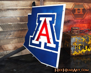 "Side image of an Arizona Wildcats ""A"" on the State 21"" x 18"""