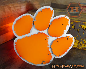 Clemson University Paw Orange on Brushed 3D Vintage