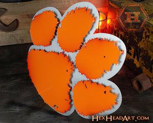 Clemson Tiger Paw Orange on Brushed 3D Vintage