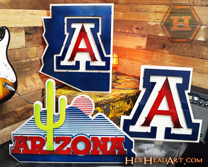 Image of Multiple Arizona Wildcats 3D Metal Artwork