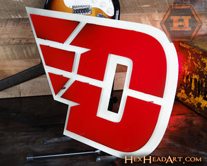 "A Custom Dayton Flyers ""Flying D"" Metal Artwork 26"" x 16.5"""