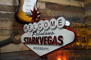 "Welcome to STARKVEGAS, Mississippi State 3D Vintage Art 28"" x 21"""