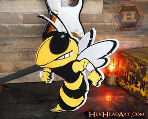 "A Custom Georgia Tech ""Buzz"" Mascot 3D Metal Artwork"
