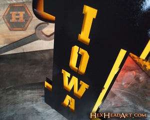 "A Custom Iowa Hawkeyes Block ""I"" 3D Vintage Metal Art"