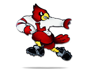 "Louisville Cardinals ""Heisman"" Football Mascot 3D VAULT Artwork 24"" X 24"", on a white background"