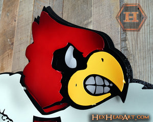 "UofL Cardinals ""Heisman"" Football Mascot 3D VAULT Artwork 24"" X 24"""