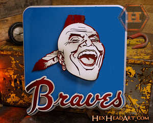 "Atlanta Braves Mascot 1969-86, 3D metal artwork 21"" x 19"""
