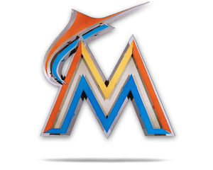 Miami Marlins M Logo 3D Metal Artwork  on a White Background