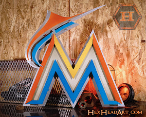 Miami Marlins M Logo 3D Metal Artwork