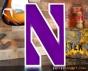 "Northwestern Wildcats ""N"" 3D Vintage Metal Art"