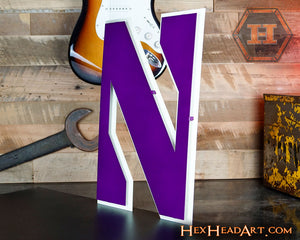"Northwestern Wildcats ""N"" 3D Vintage Metal Artwork"