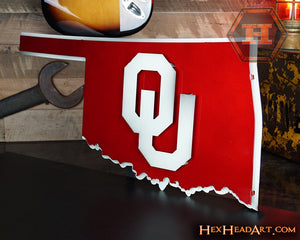 "Oklahoma Sooners ""OU on State"" Vintage 3D Metal Art"