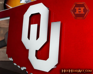 "A Custom Oklahoma Sooners ""OU on State"" Vintage 3D Metal Art"
