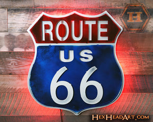 "Route 66 Sign Lit up with LED ""Do It Yourself"" Lights from Hex Head"