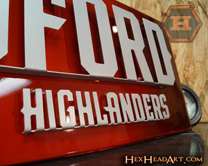 A Custom Radford University Highlanders 3D Metal Artwork