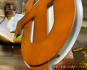 "Texas Longhorns Interlocking ""UT""  Burnt Orange on Vintage White 3D Wall Art"