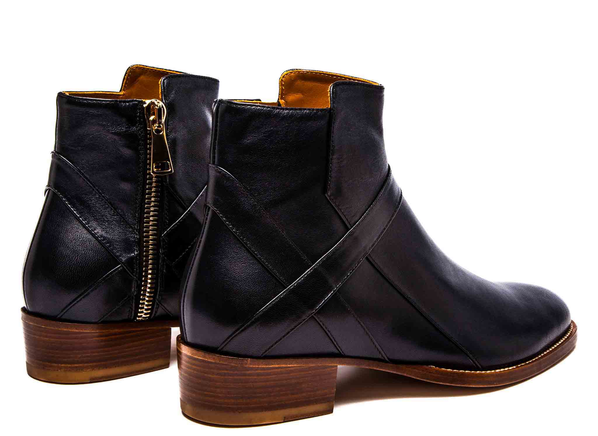 Bowie Mid - Black Leather - Natural