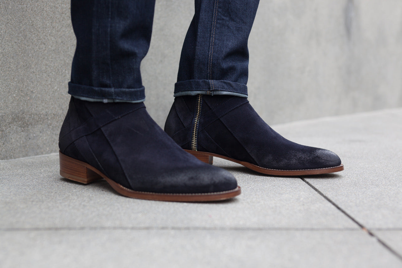 Bowie Mid - Navy Suede