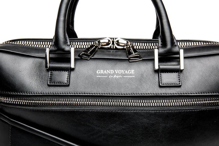 Wolfe Laptop Bag- Black Leather