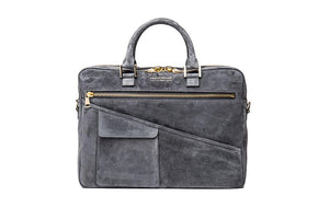 Wolfe Laptop Bag- Grey Suede