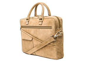 Wolfe Laptop Bag- Beige Suede