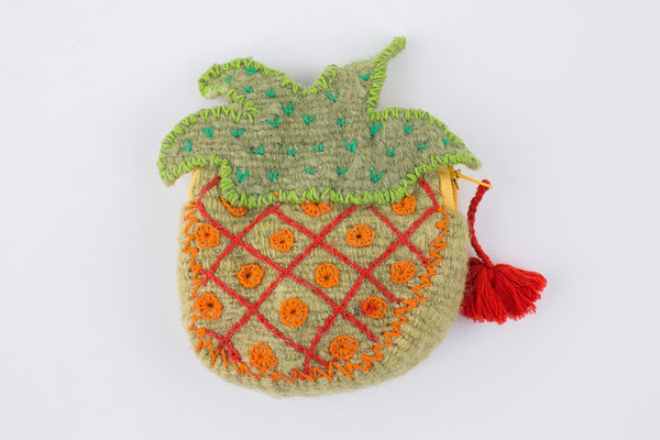 FELTED WOOL PINAPPLE COIN PURSE
