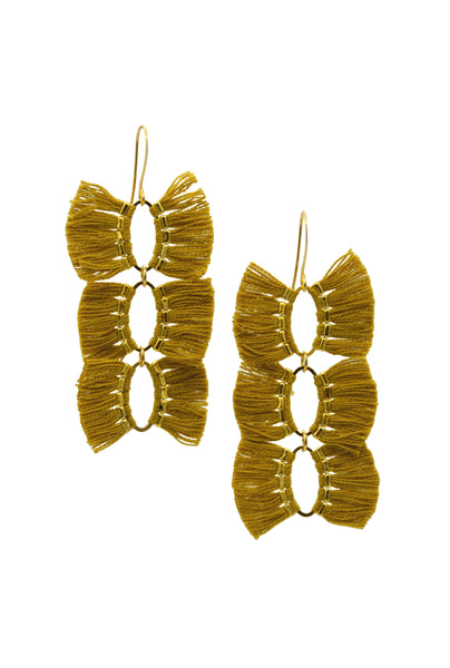 FRANCESCA FRINGE MUSTARD - Earrings