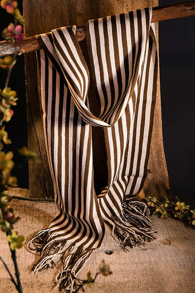 Handwoven Striped Alpaca Scarf