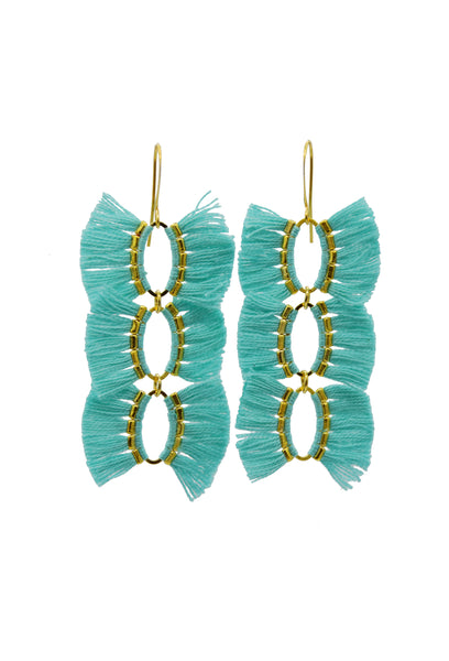 FRANCESCA FRINGE AQUA - Earrings