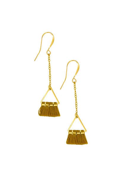 LUCIA MUSTARD TRIANGLE - Earrings