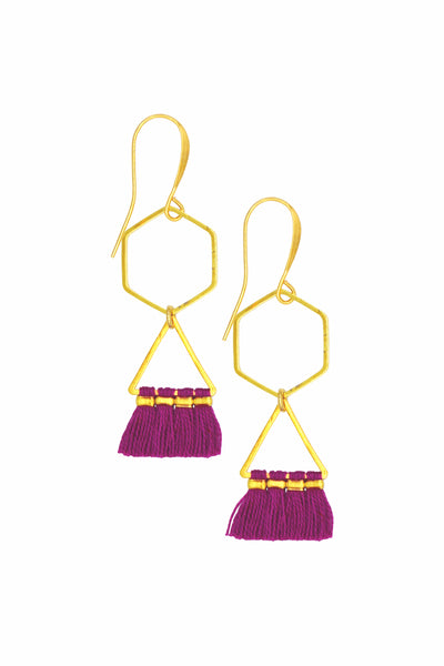 ELENA GEOMETRIC MAGENTA - Earrings