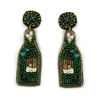 Green Beaded Wine Bottle Earrings
