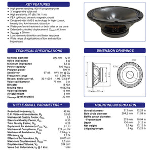 Beyma 12WR400 12-inch Speaker 400 Watt RMS 8-ohm Low Frequency Woofer spec sheet