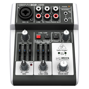 Behringer XENYX 302USB 5-Input Compact Mixer and USB Interface 736211582645 front view