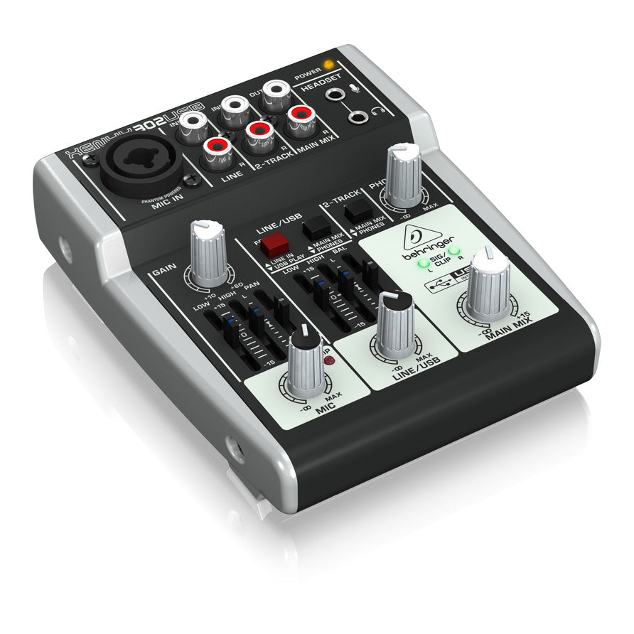Behringer XENYX 302USB 5-Input Compact Mixer and USB Interface 736211582645 left side
