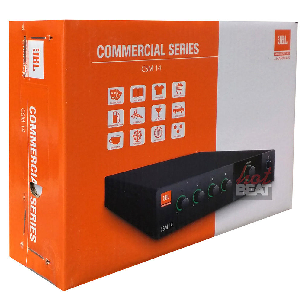 JBL CSM14 4-Inputs 1-Output Commercial Series Mixer 110 - 240 Voltage CSM-14