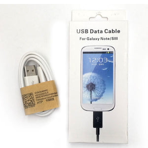 Micro USB White Data Cable Charger Cord for Samsung Galaxy S2 S3 S4 Note 2 3 4 5