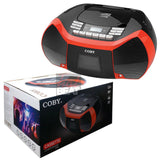 Coby Cassette Recorder CD CD-R MP3 AM/FM Radio USB 3.5 mm AUX Player Boombox RED