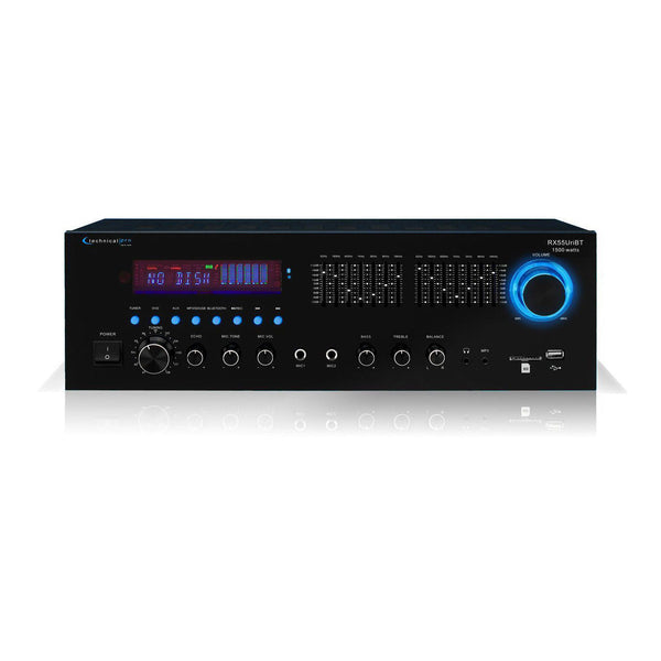 Technical Pro RX55URIBT 1500W Pro Audio Receiver w/ Bluteooth +USB/SD+ 7-Band EQ