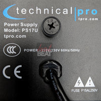 Technical Pro PS17U Rack 17 Outlet Power Supply Surge Protect USB Charging Ports