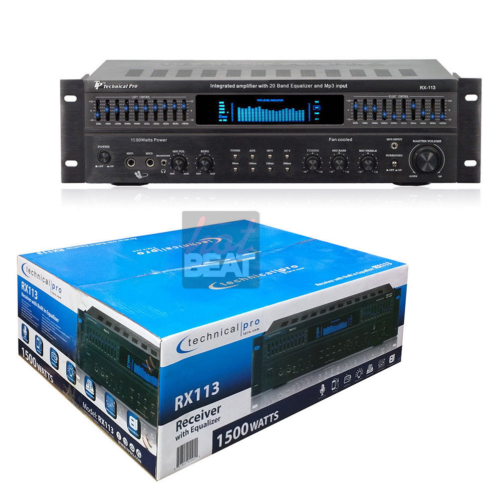 Technical Pro 1500W 5-Ch Integrated Amplifier / Dual 10 Band Equalizer | RX-113