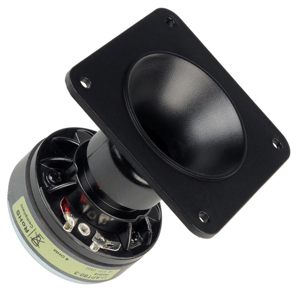 Eminence APT80 1-inch Driver 4-bolt Tweeter 80 x 80 Conical Horn 45 Watt RMS 8-ohm side front view
