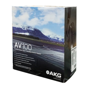 AKG AV100 ANR Aviation Pilot Headset 6-pin LEMO Plug Dual GA Adapter Bluetooth 885038035725 rear back box