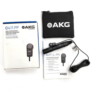 AKG C411 PP Condenser Vibration Pickup Mic for Acoustic Guitar Mandolin Violin 885038006251 box case manual main