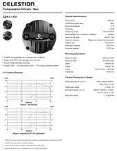 Load image into Gallery viewer, Celestion CDX1-1731 1-inch Screw-on Neodymium Compression Driver 40 Watt RMS 8-ohm Chart Specs Specifications