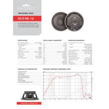 Load image into Gallery viewer, Eminence Delta Pro-12A 12-inch Speaker 400 Watt RMS 8-ohm 0876358000333 specification sheet