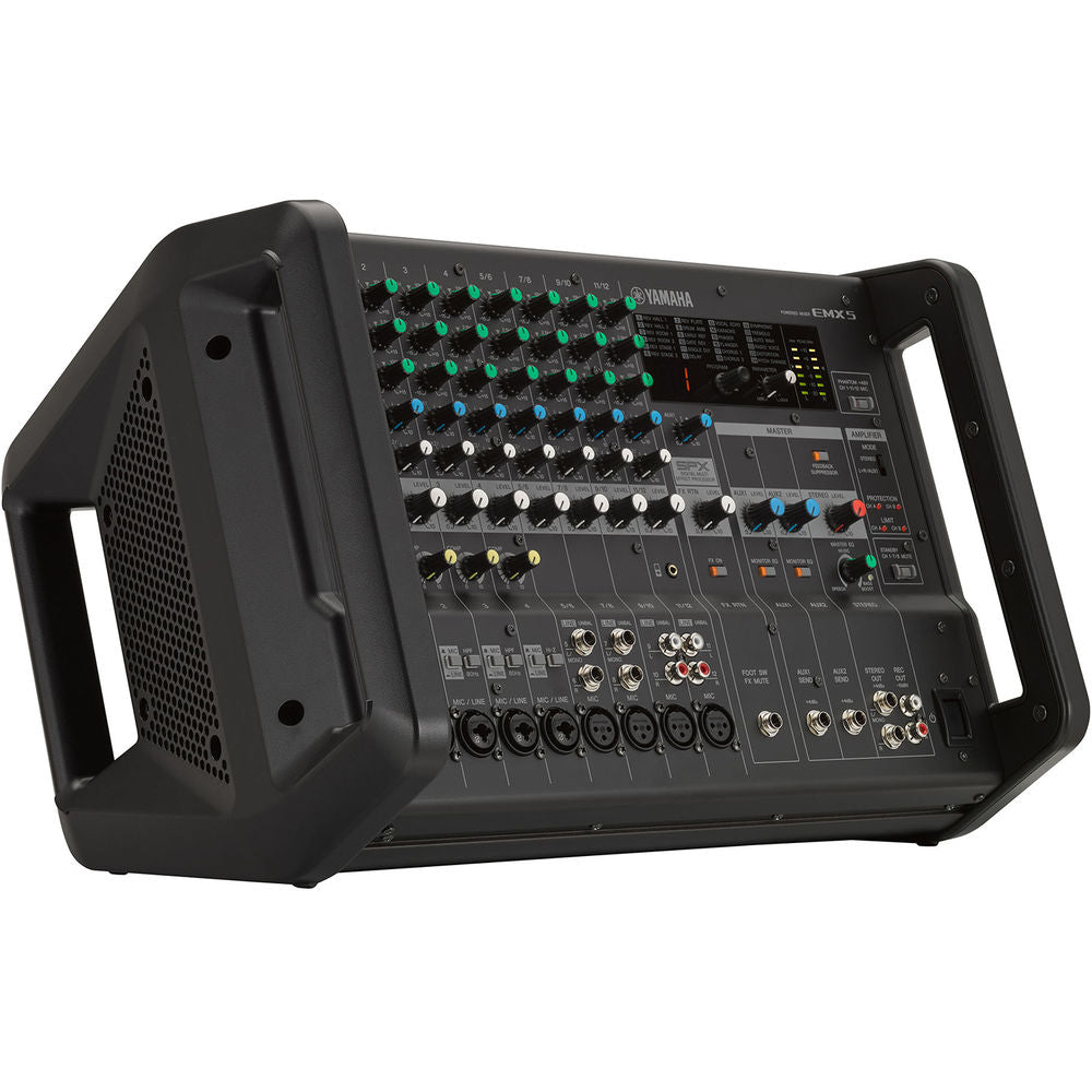 Yamaha EMX5 12-Channel Stereo Powered Mixer Integrated Built-in Amplifier 889025106221 main facing right side profile