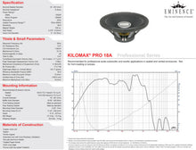 Load image into Gallery viewer, Eminence Kilomax Pro-18A 18-inch Subwoofer Speaker 1250 Watt RMS 8-ohm chart