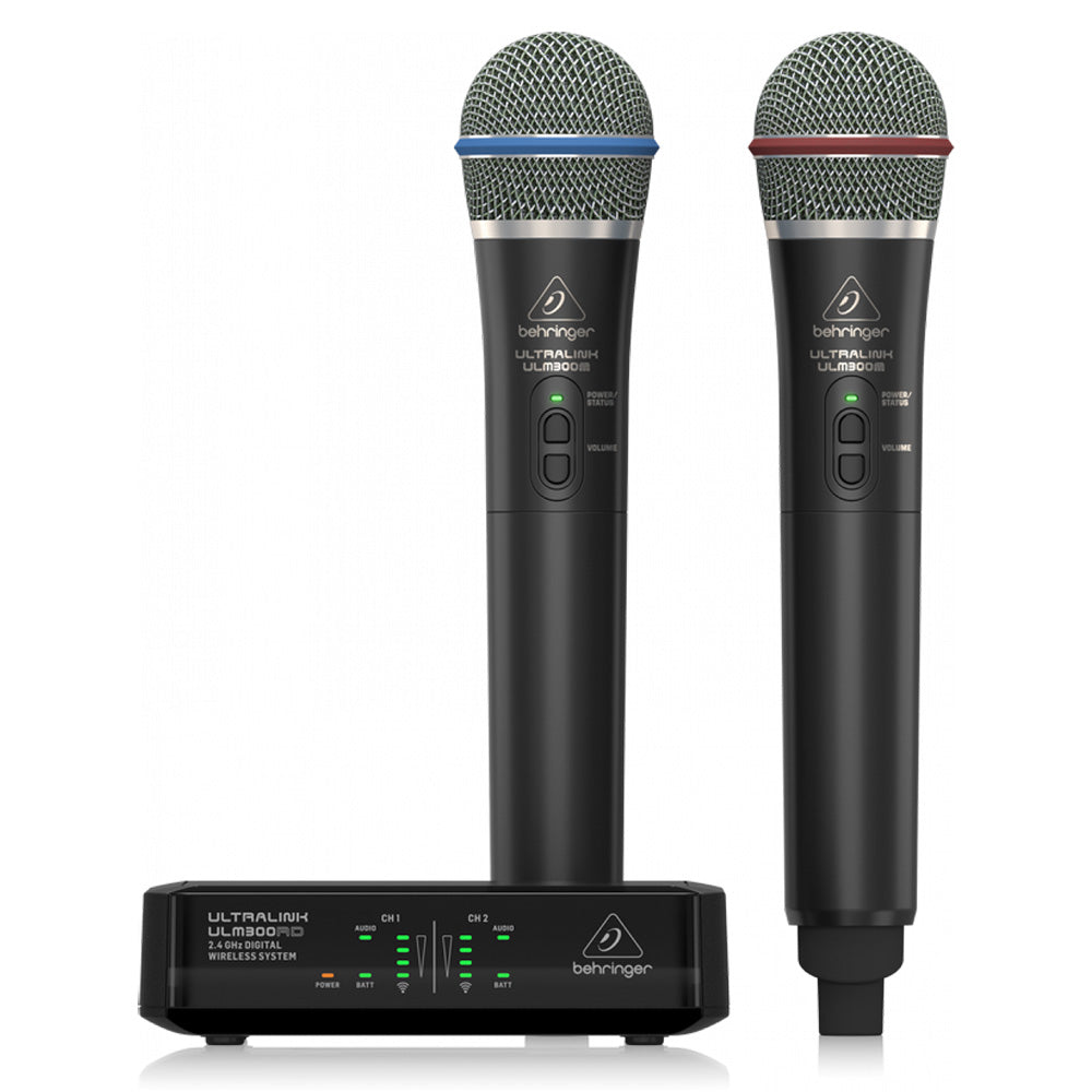 Behringer ULM302MIC Digital Wireless System w/ 2 Handheld Microphones & Receiver 653341315236 front main view
