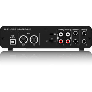 Behringer U-PHORIA UMC204HD Audio Interface 748252142047 rear back